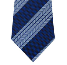 Navy Silk Tie with Herringbone Blue Stripe Close