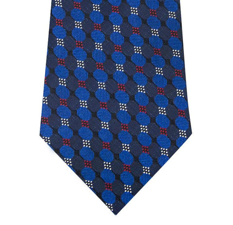Navy and Blue Multi Circle Design Silk Tie