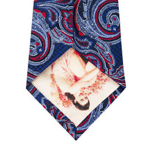 Cobalt Blue with Red Paisley Pattern Silk Tie Back