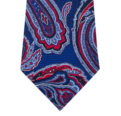 Cobalt Blue with Red Paisley Pattern Silk Tie