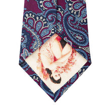 Wine Silk Tie with Blue Paisley Design Back