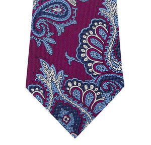 Wine Silk Tie with Blue Paisley Design Close
