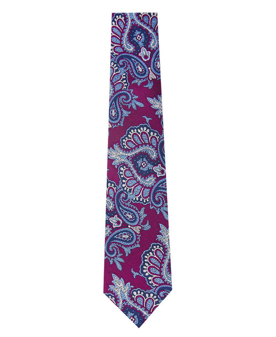 Wine Silk Tie with Blue Paisley Design