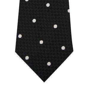 Black and White Polka Dot Silk Tie Close Up