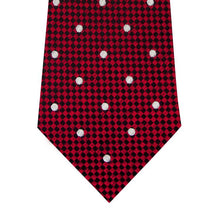 Red and White Polka Dot Silk Tie with Check Background Close