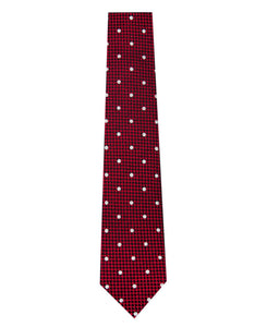 Red and White Polka Dot Silk Tie with Check Background