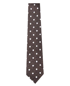 Bronze and Cream Polka Dot Silk Tie