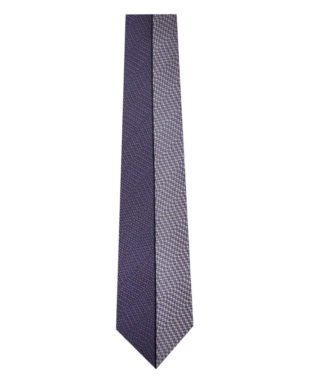 Two Tone Purple Vertical Stripe Silk Tie