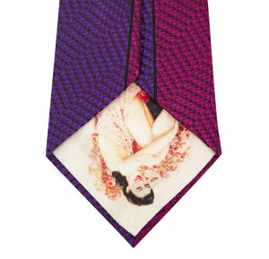 Pink and Purple Vertical Stripe Silk Tie Back