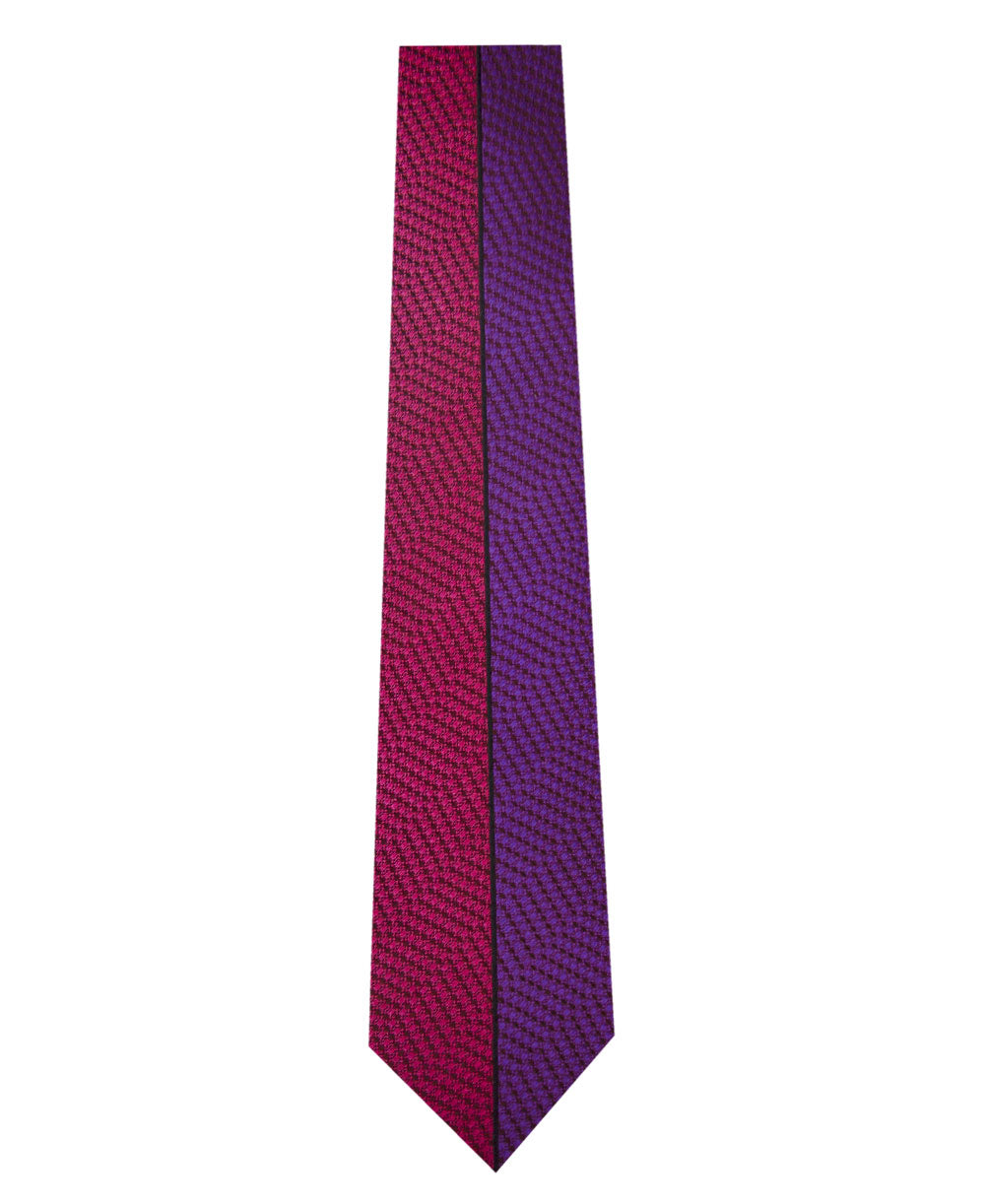 Pink and Purple Vertical Stripe Silk Tie