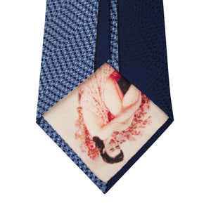 Navy and Blue Vertical Stripe Silk Tie Back