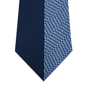 Navy and Blue Vertical Stripe Silk Tie Close