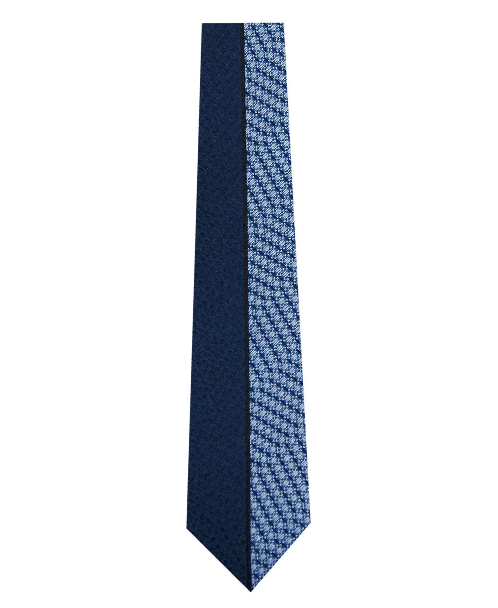 Navy and Blue Vertical Stripe Silk Tie