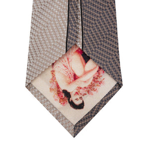 Brown and Stone Vertical Stripe Silk Tie Back