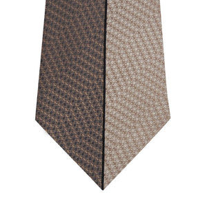 Brown and Stone Vertical Stripe Silk Tie Close