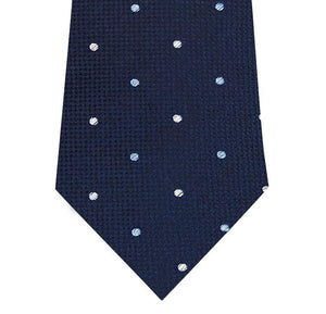 Navy with Blue and White Polka Dot Silk Tie Close