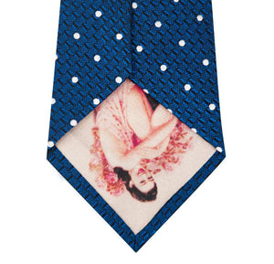 Cobalt Blue and White Polka Dot Silk Tie Back