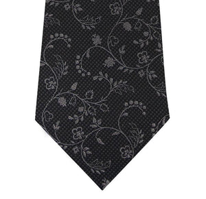 Black and Grey Floral Design Silk Tie Close