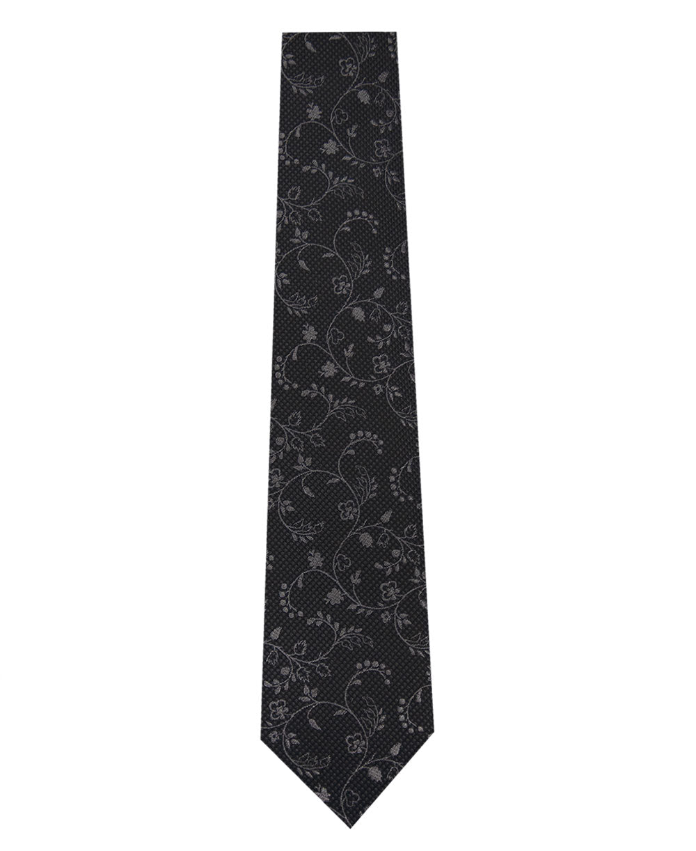 Black and Grey Floral Design Silk Tie Long