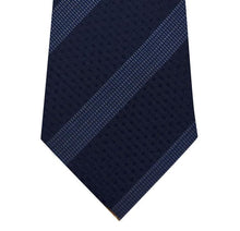 Navy on Blue Stripe Silk Tie Close