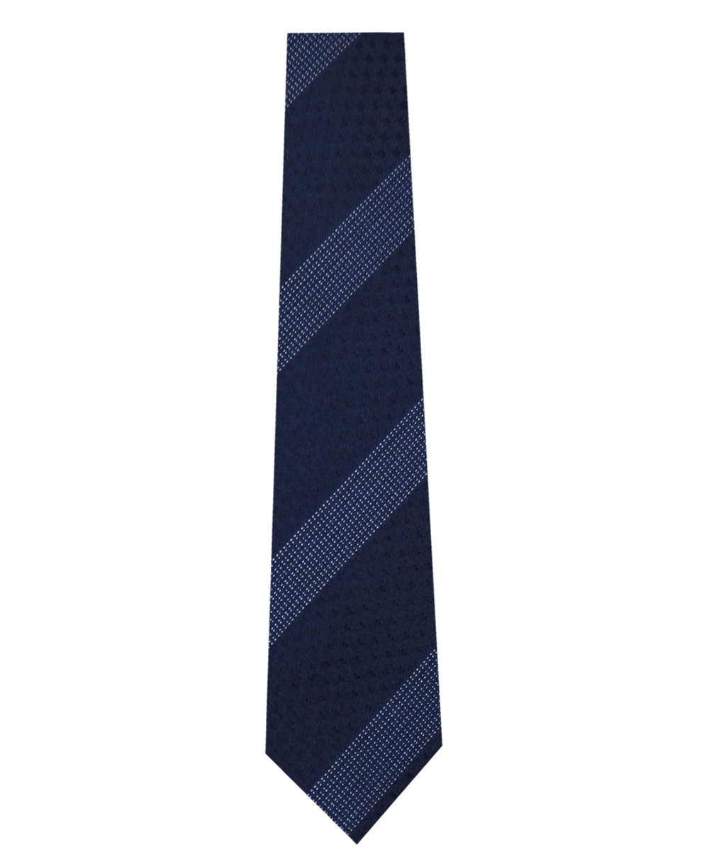 Navy on Blue Stripe Silk Tie Long