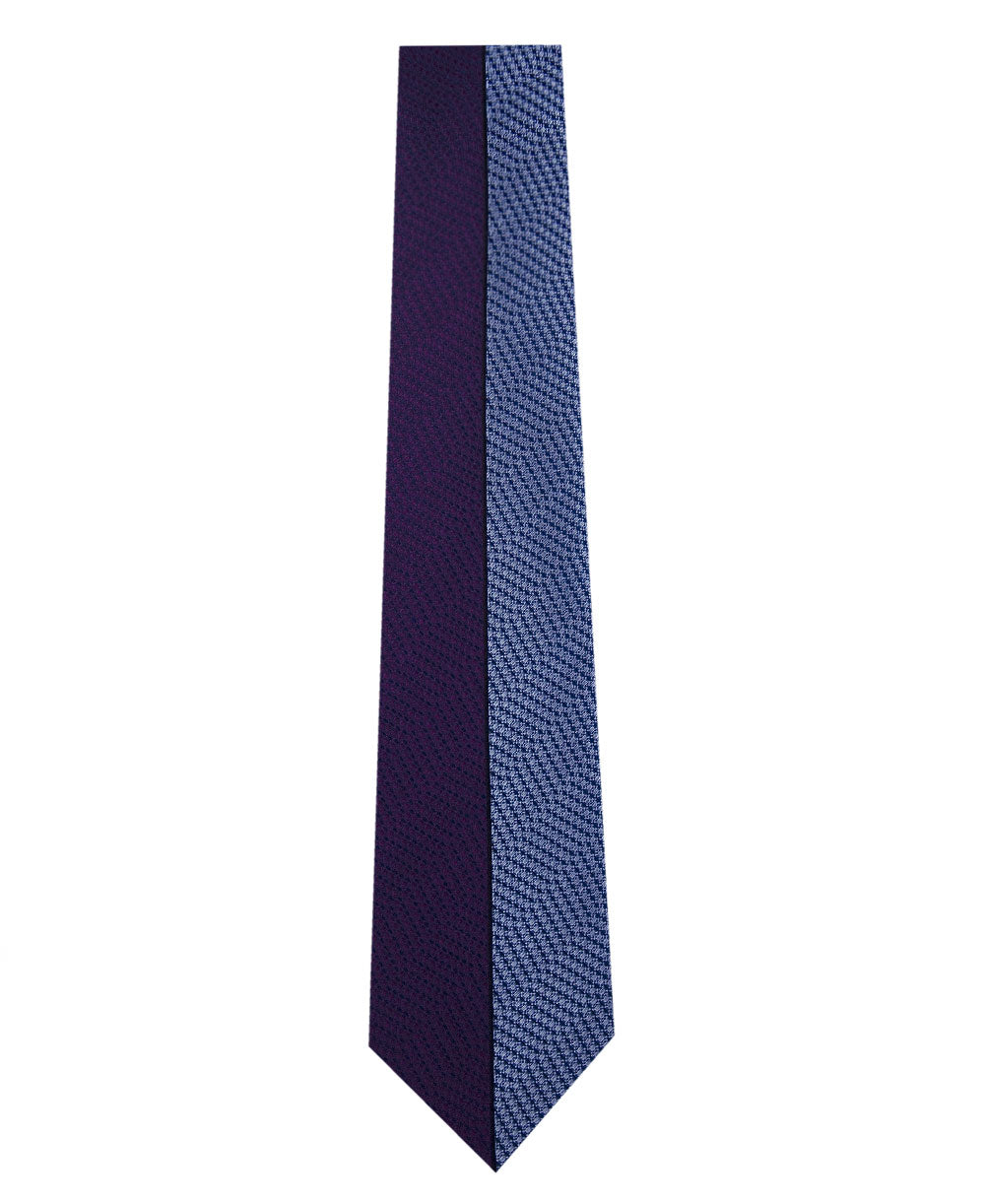 Purple and Blue Vertical Stripe Silk Tie Long