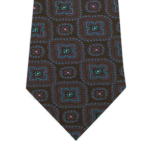Black Silk Tie with Purple and Teal Pattern Close