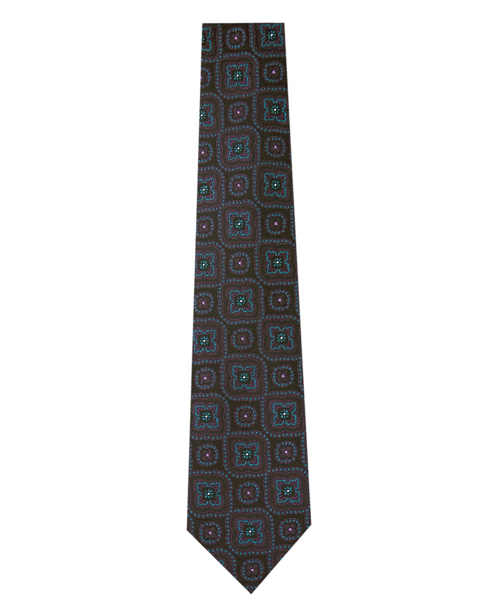 Black Silk Tie with Purple and Teal Pattern Long
