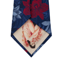 Blue Silk Tie with Red and Sky Blue Floral Back