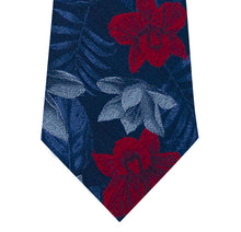 Blue Silk Tie with Red and Sky Blue Floral Close