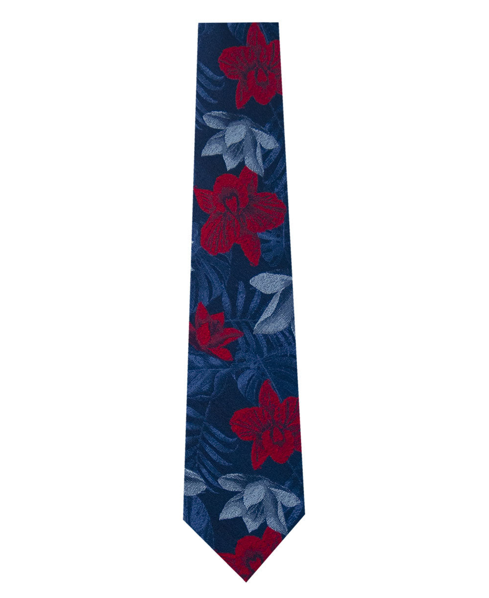 Blue Silk Tie with Red and Sky Blue Floral Long