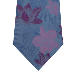 Sky Blue Silk Tie with Pink Floral Close