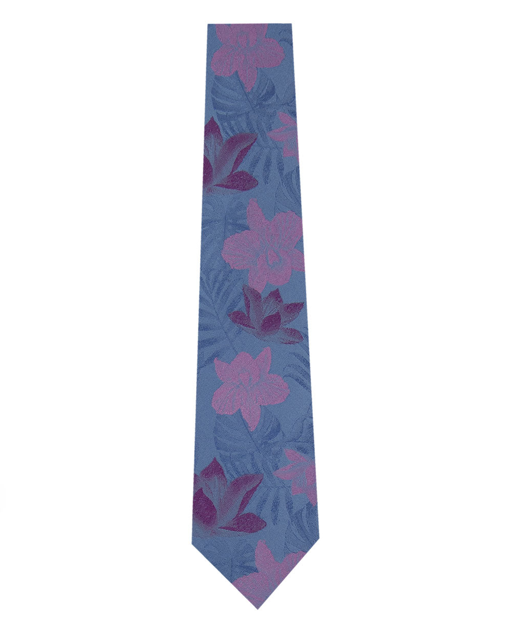 Sky Blue Silk Tie with Pink Floral Long