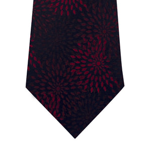 Navy with Red Pattern Silk Tie Close