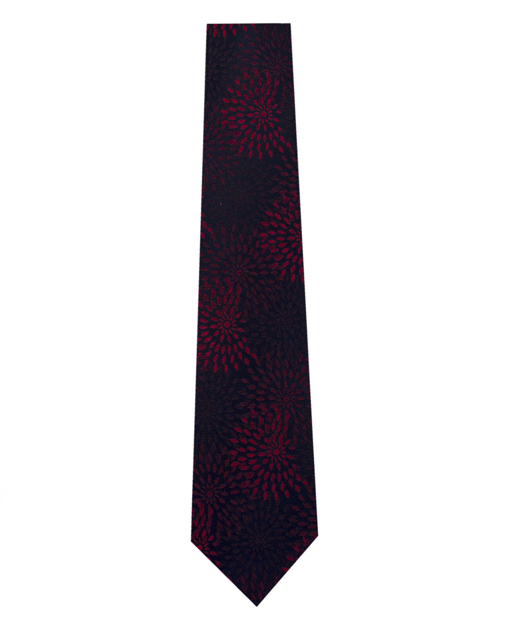 Navy with Red Pattern Silk Tie Long