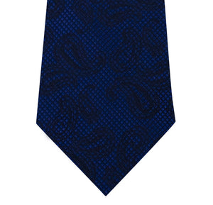 Blue with Black Paisley Pattern Silk Tie Close