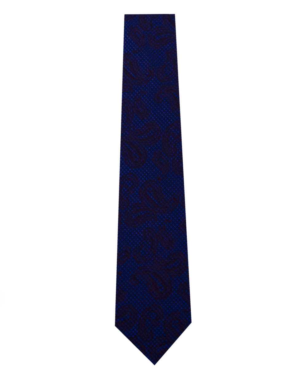 Blue with Black Paisley Pattern Silk Tie Long