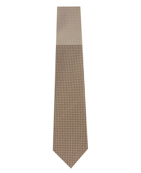 Gold and Sand Block Waffle Weave Silk Tie