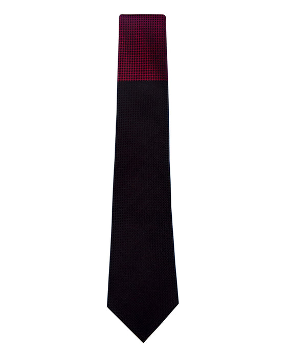 Black and Red Block Waffle Weave Silk Tie