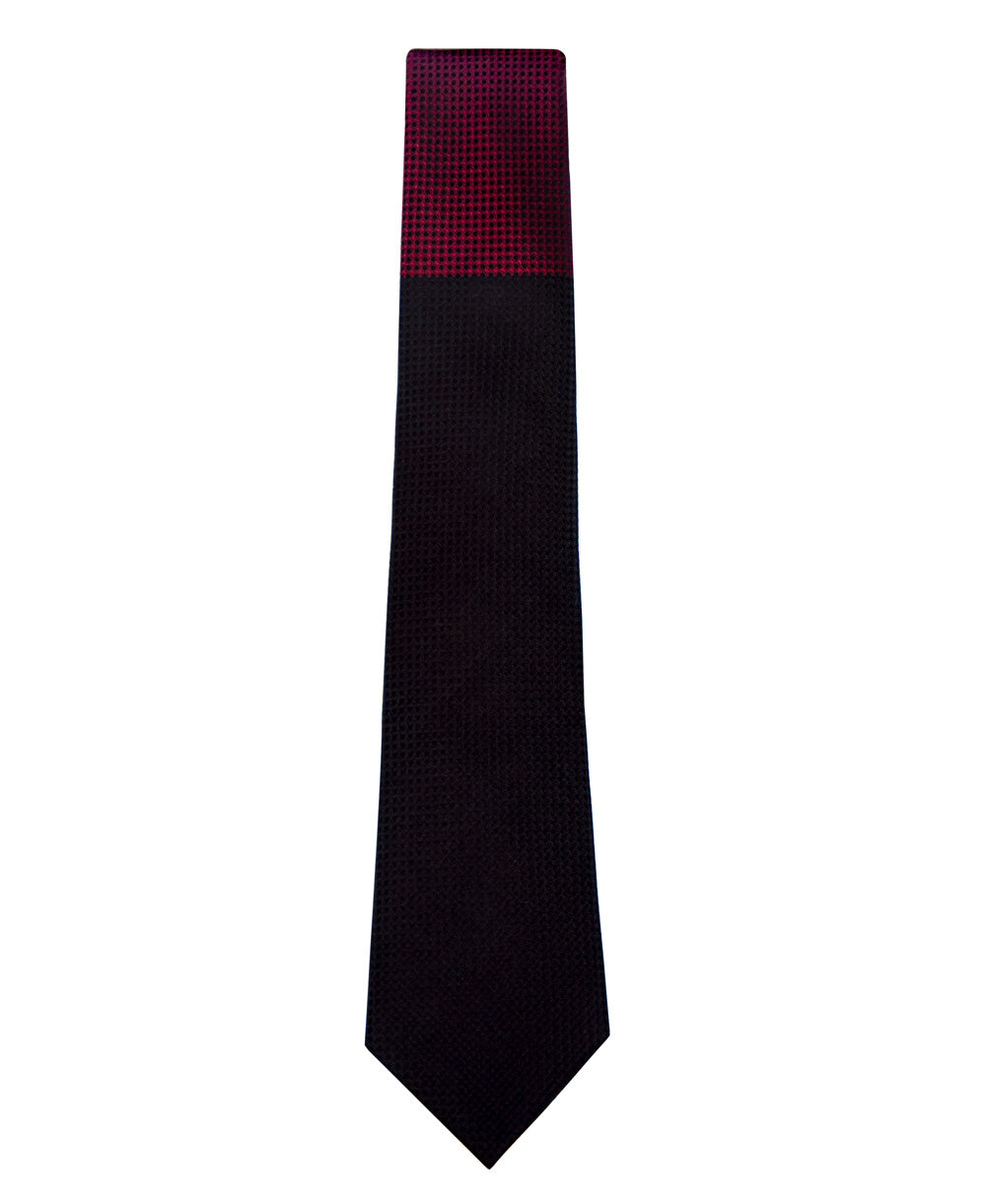 Black and Red Block Waffle Weave Silk Tie Long