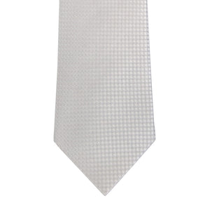 White and Cream Block Waffle Weave Silk Tie Close