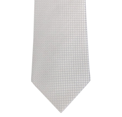 White and Cream Block Waffle Weave Silk Tie Long