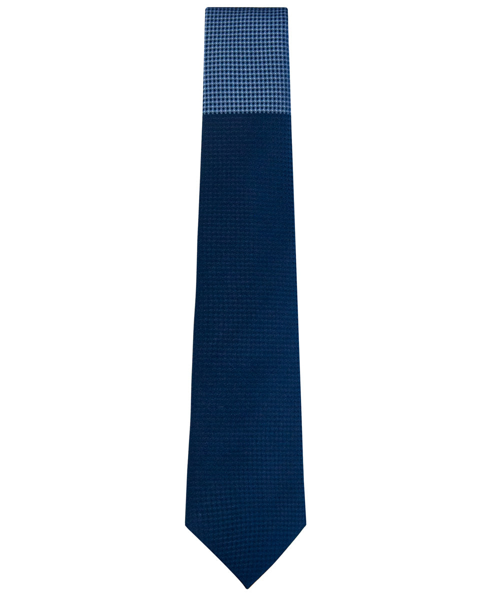 Navy and Sky Blue Block Waffle Weave Silk Tie