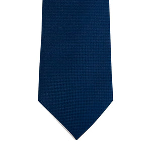 Navy and Sky Blue Block Waffle Weave Silk Tie Close