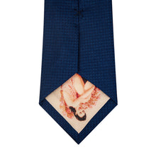 Navy and Sky Blue Block Waffle Weave Silk Tie Back