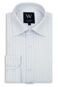 White Cutaway Collar Shirt with Blue Stripe