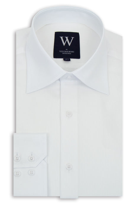 White Faint Line Cutaway Collar Shirt