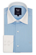 Sky Blue Cutaway White Collar Shirt with Faint Stripe