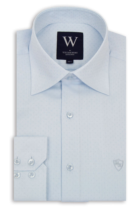 Sky Blue Forward Point Collar Shirt with Blue Pin Dot