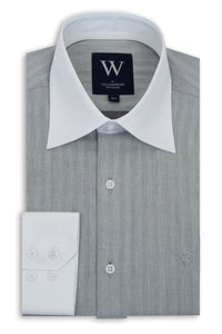 Grey Forward Point Collar Shirt with White Collar